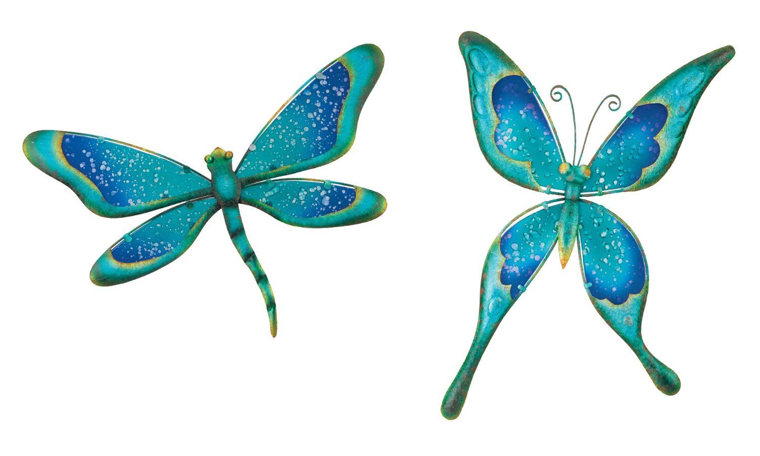 Regal art u gift watercolor dragonfly and butterfly metal glass wall