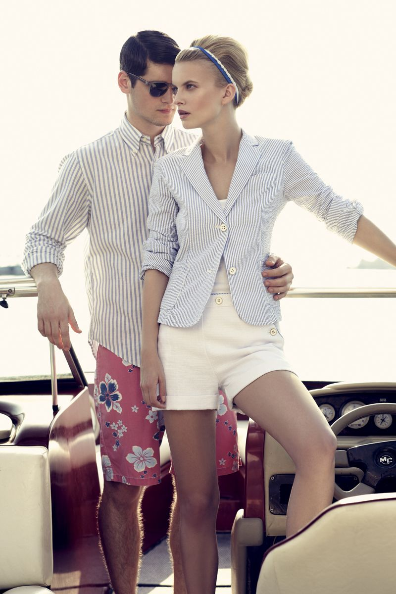 Her outfit is awesome. His? Well I don't think every guy could pull off the two prints he's wearing. I would personally pair his shirt with some navy shorts.