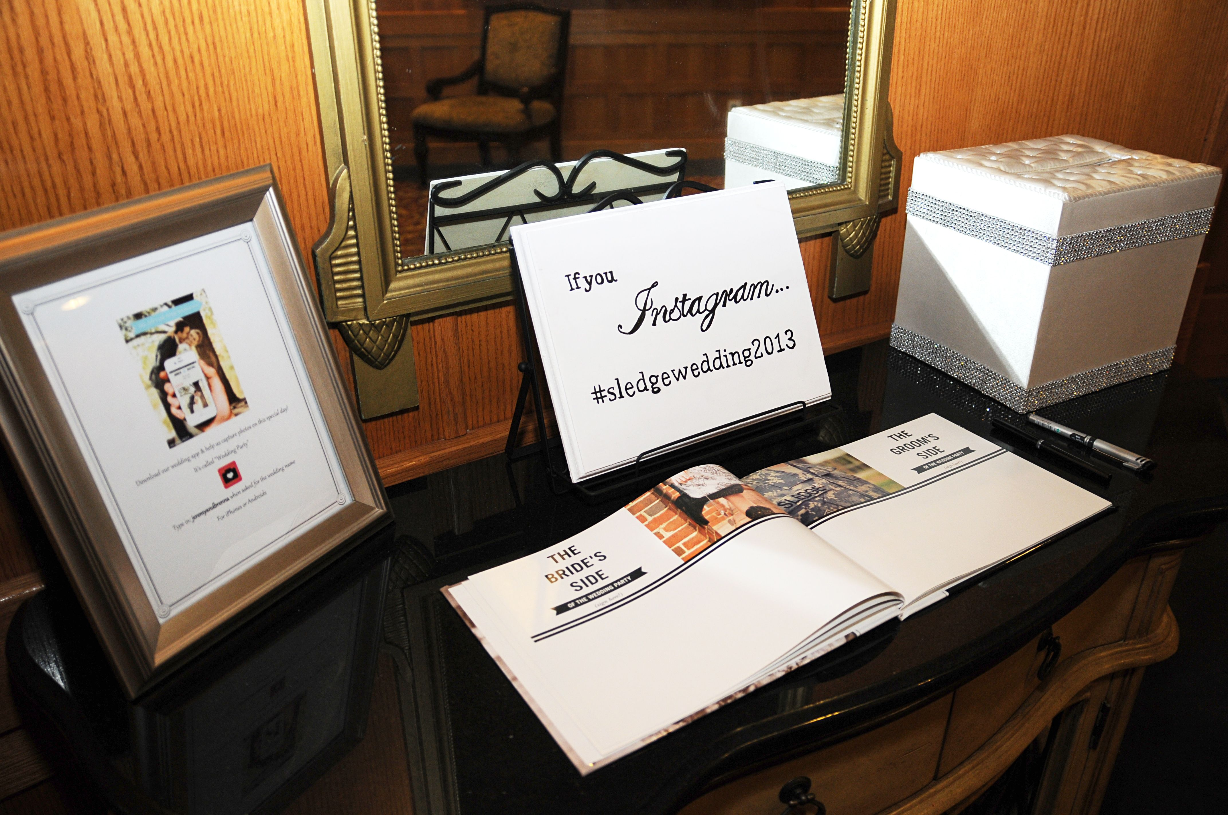 """For our wedding we used the """"Wedding Party App"""" so our guests could upload the photos they took all in one place. I made our guestbook using """"Shutterfly"""". Our Instagram hashtag was #sledgewedding2013"""