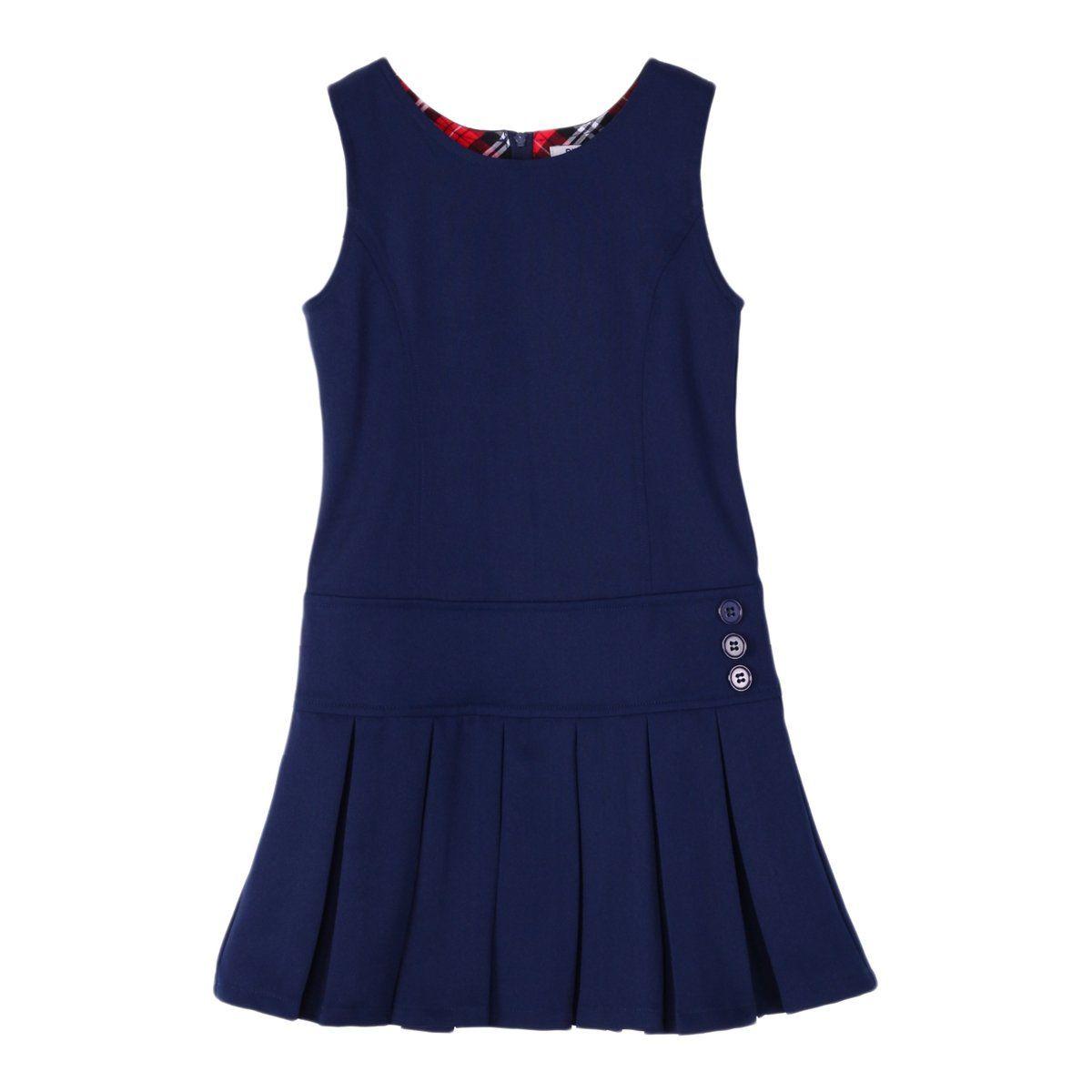 Bienzoe girlus stretchy pleated hem school uniforms jumper navy