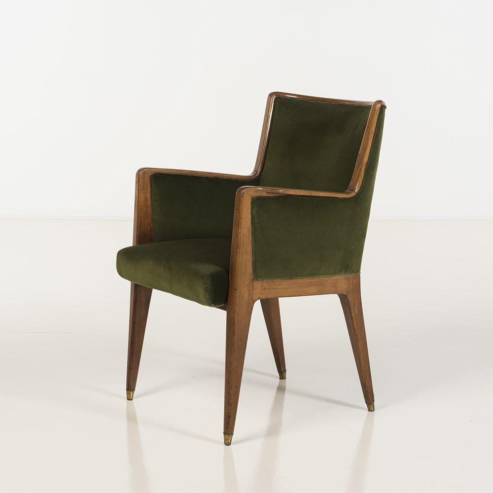 Gio Ponti (1891-1979), Fauteuil, Bois, textile et laiton, Date de création : années [...], Design italien at Piasa | Auction.fr