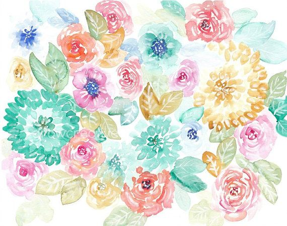 Pastel floral art 11x14 original watercolor by for Pastel teal paint