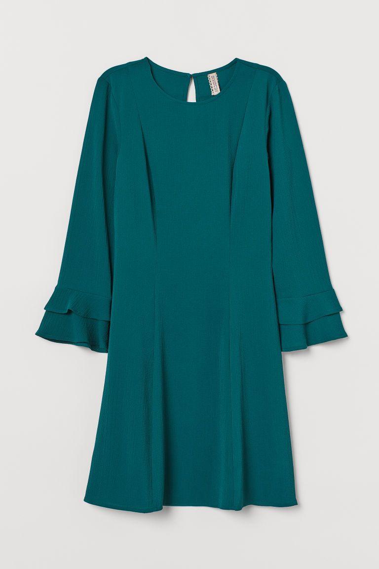 Kleid mit Volantärmeln - Smaragdgrün - Ladies  H&M DE in 18