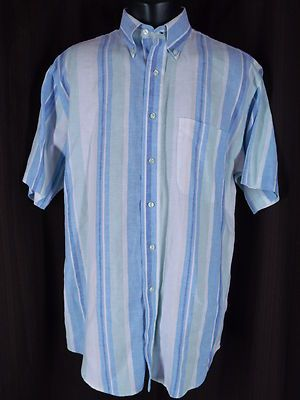 Jos. A. Bank Travelers Collection Blue Stripe Linen Button Luxury Shirt