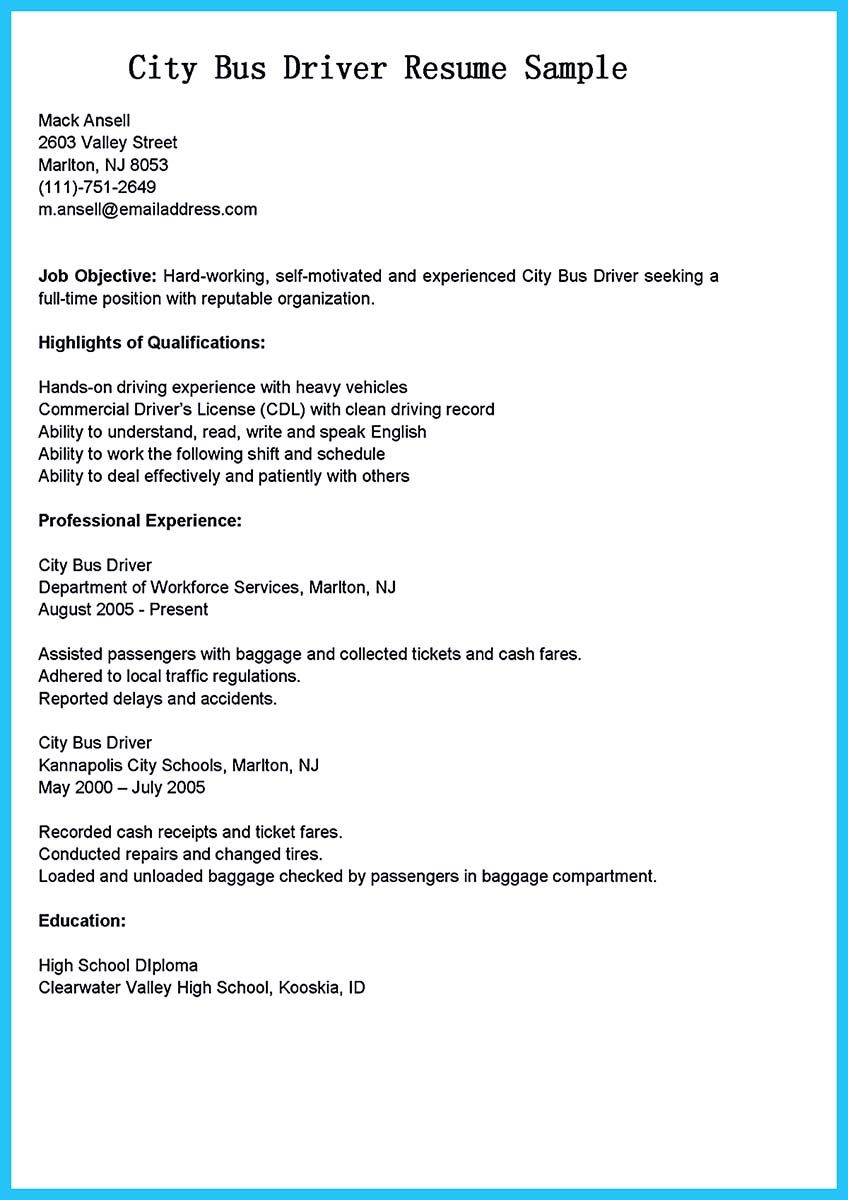 school bus driver job description for resume