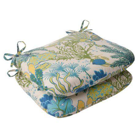 Pillow Perfect 496429 Splish Splash Blue Rounded Corners Seat Cushion (Set of 2)