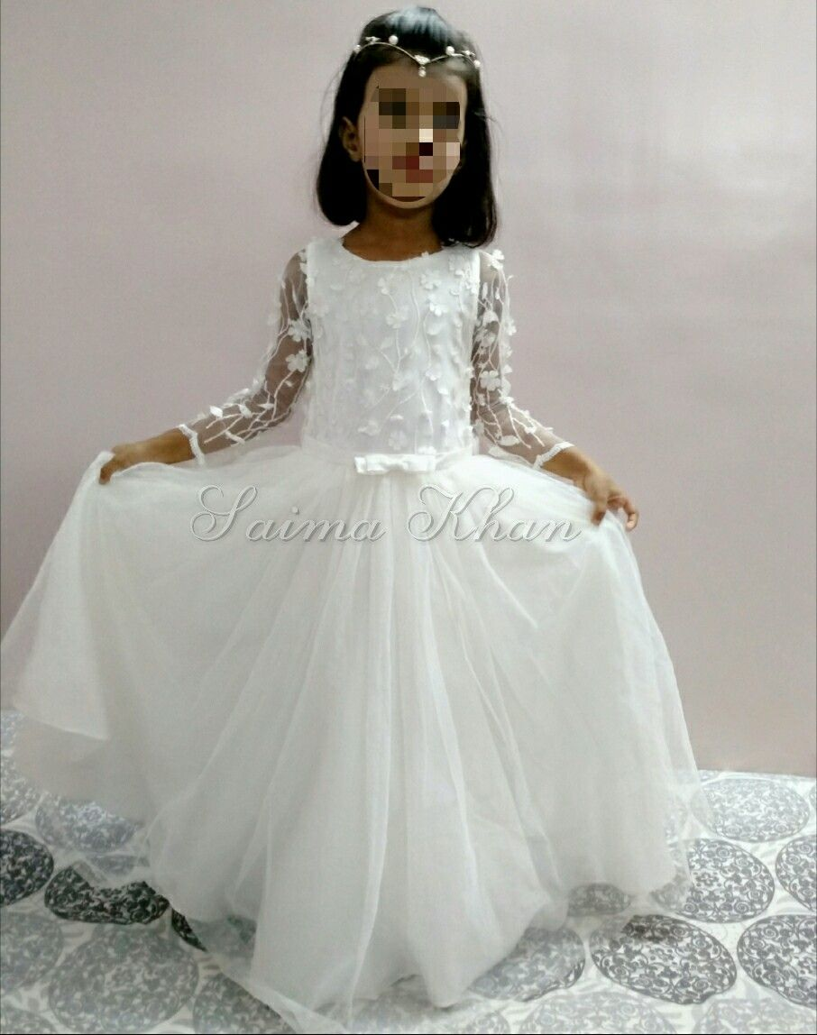 Flower girl tulle gown dress birthday wedding party dress by