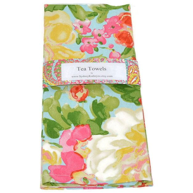 Shabby Cottage Tea Towel Dish Towel Decorative Kitchen Towel Aqua And Pink Flowers Decorative Kitchen Towels Shabby Cottage Tea Towels