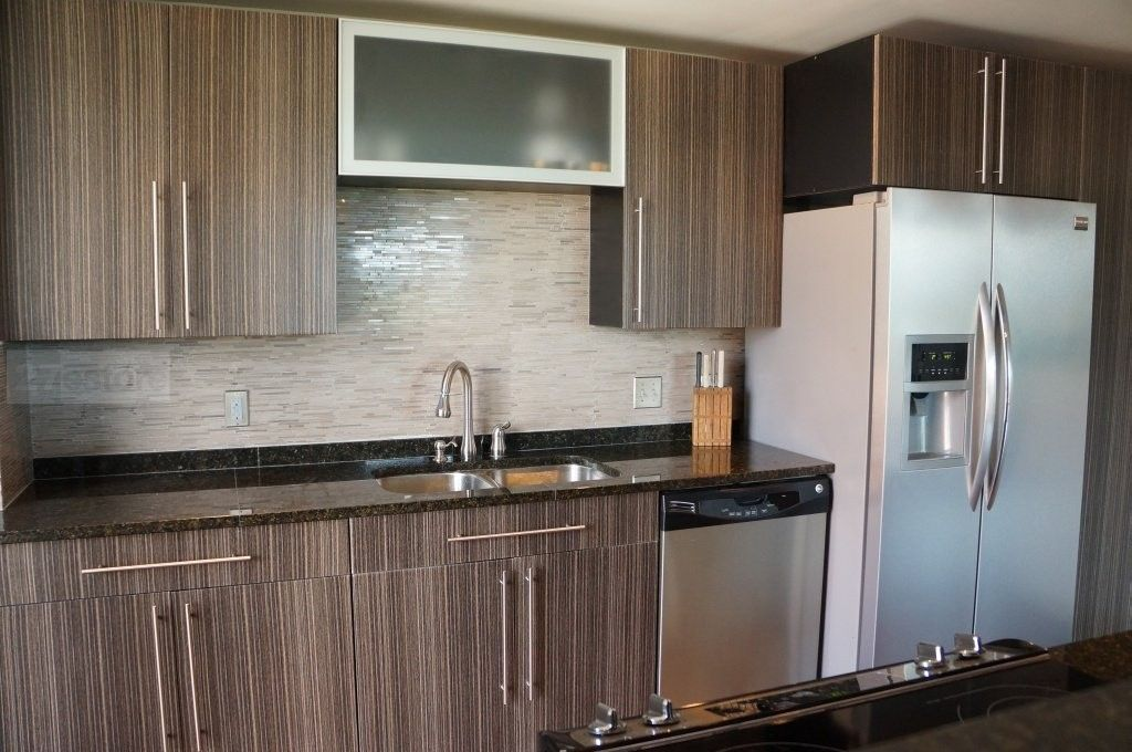 Grey Zebrawood and Aluminum Frame Glass doors  kitchen design by