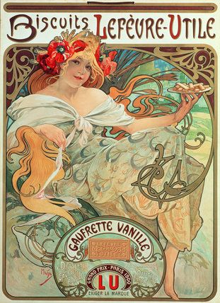 Lefevre Utile French Nouveau Alphonse Mucha Vintage Advertisement Poster