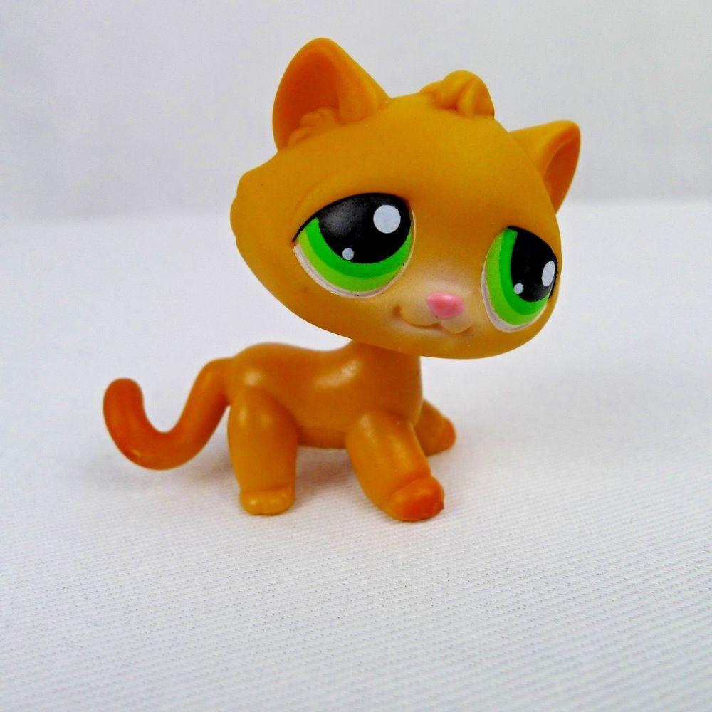 Littlest Pet Shop Cat 110 Orange Tabby With Green Eyes Hasbro