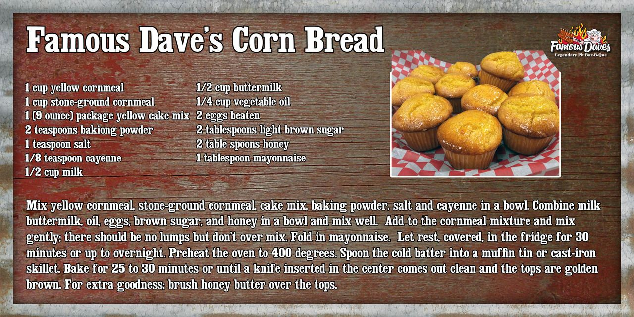 Famous Dave S Corn Bread Famous Daves Cornbread Famous Daves Cornbread Recipe Corn Bread Recipe