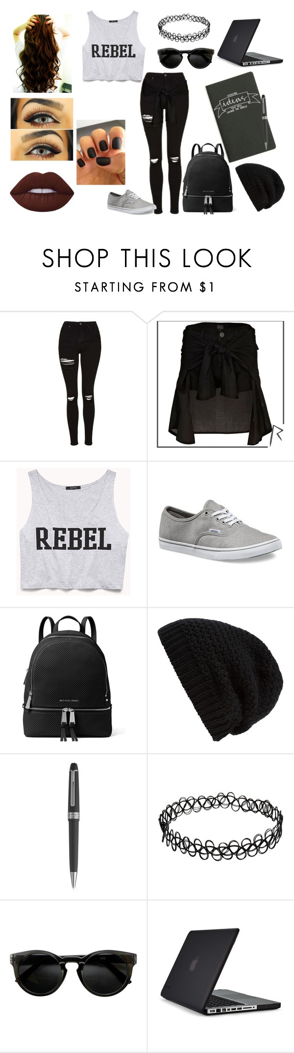 """""""The Divine Zero"""" by dearxadriana on Polyvore featuring Topshop, River Island, Forever 21, Vans, MICHAEL Michael Kors, Rick Owens, Montblanc, Speck, Lime Crime and bands"""