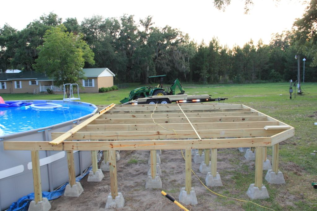 Intex pool with deck new intex 26 39 ultra frame owners for Deck plans for above ground pools