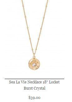 """Sea La Vie Necklace 18"""" Locket Burst Crystal"""