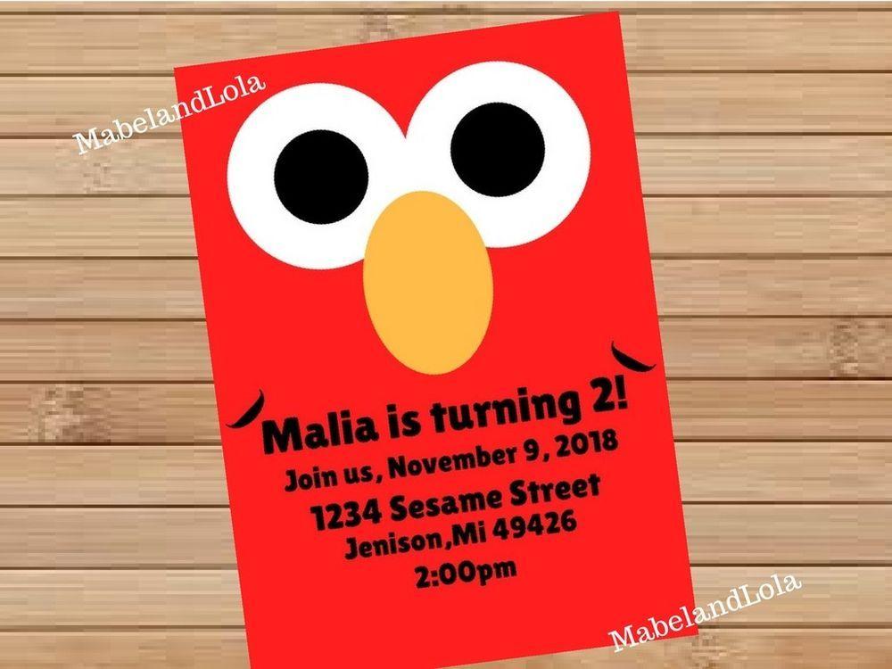 Elmo Custom Birthday Party Invitation Personalized Themed Invite
