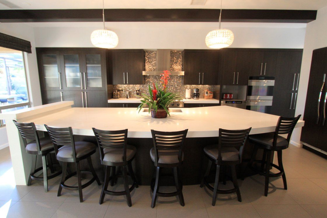 Long kitchen breakfast bar ideas place long kitchen island with dark seating in interesting kitchen