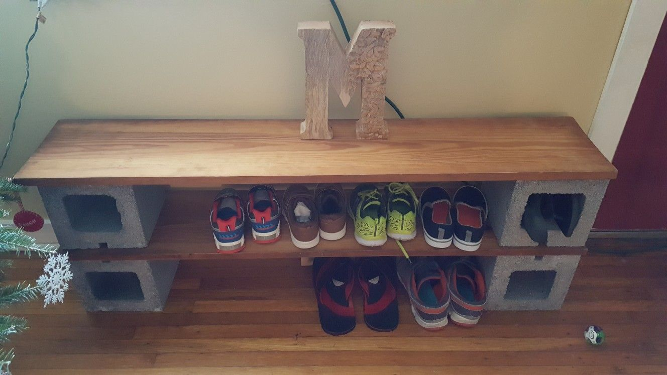 Magnificent My Cinder Block Shoe Rack And Bench I Recycled An Old Piece Squirreltailoven Fun Painted Chair Ideas Images Squirreltailovenorg