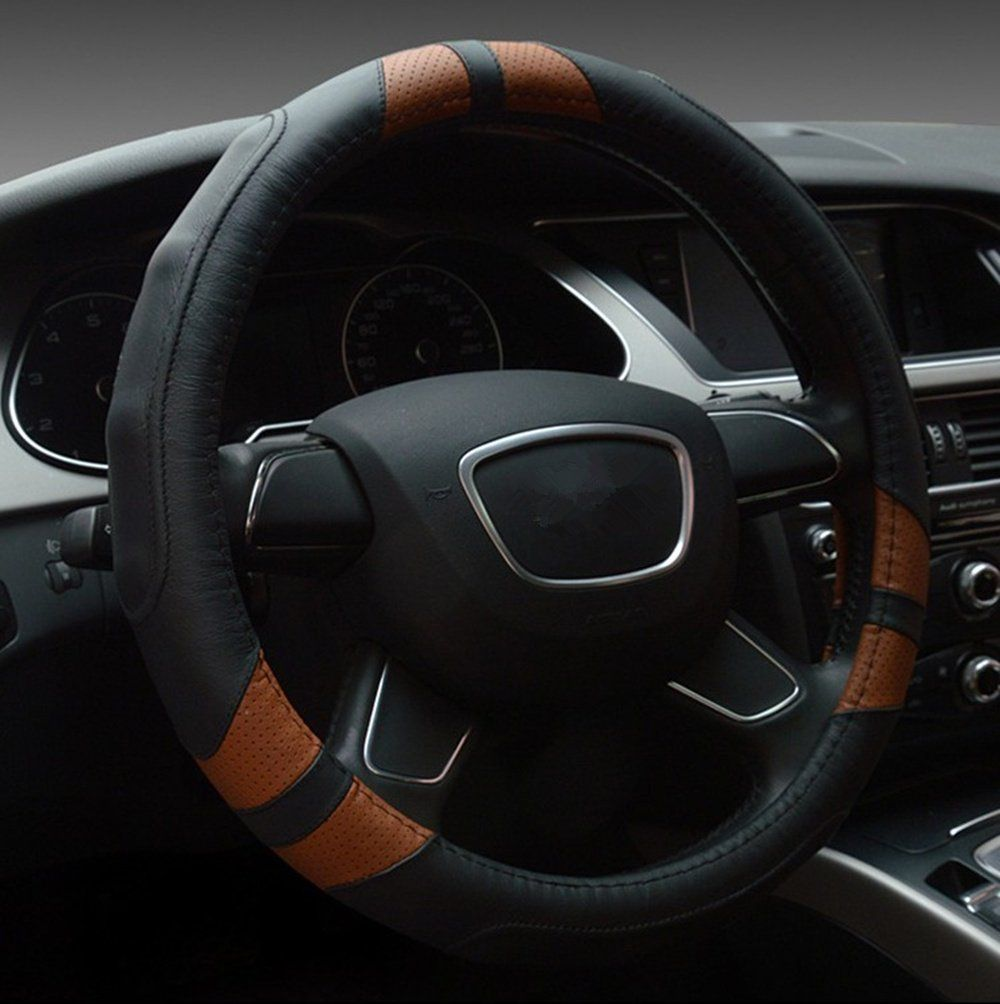 Beige, 36cm//14.17 Dia AUTUT Faux Leather Universal Car Steering Cover Stitch On Wrap Hand Sewing with Needle /& Thread