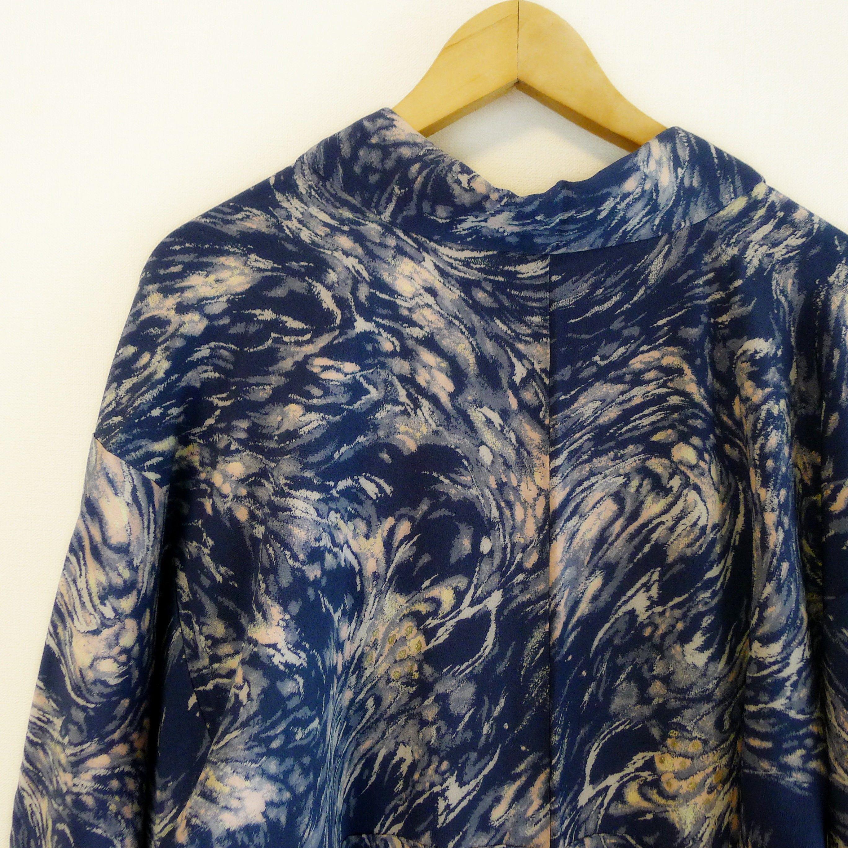 Stunning antique Japanese kimono, dark blue and cloudy sky