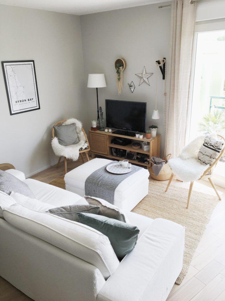 décoration salon cocooning, scandinave, moderne, minimaliste avec