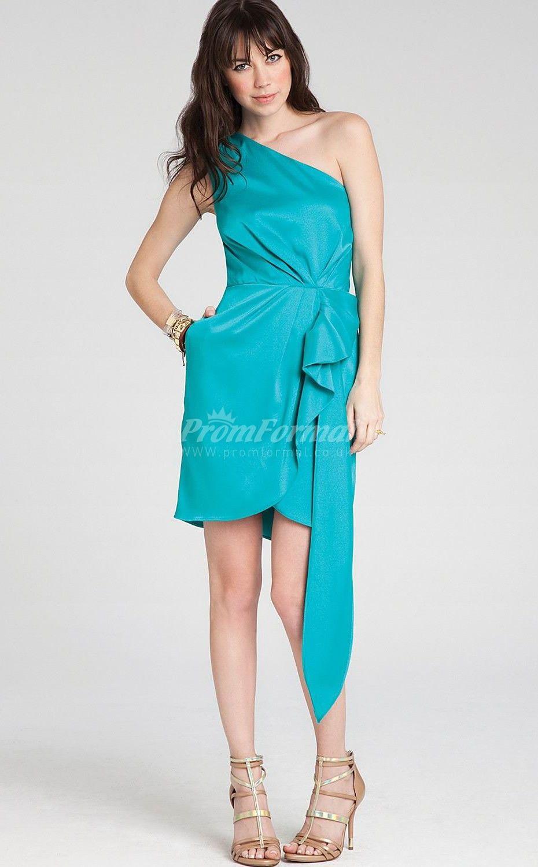 Sheath/Column One Shoulder Sleeveless Turquoise Short Prom Dresses ...