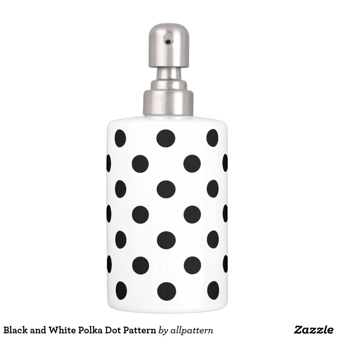 Black And White Polka Dot Pattern Soap Dispenser Toothbrush