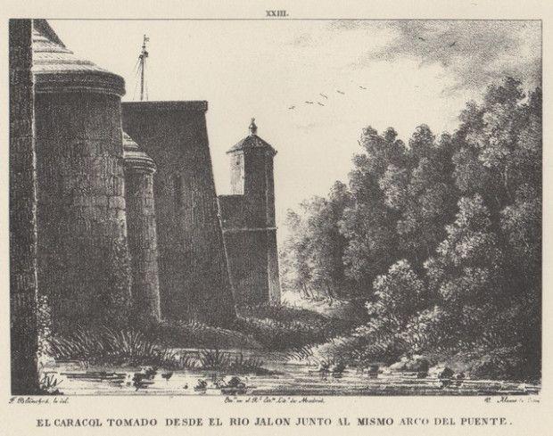 Grabado. Vista del puente del Jalón con el edificio que tiene una escalera de caracol, desde el Canal a la muralla (1833). Grabato. Ambiesta  d´o puen d´o Xalón con l´edefizio d´a escalera de caragol, dende lo Canal enta la muralla