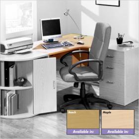 Newbury Ergonomic Office Desk 1300mm Maple Effect Right Hand Curve By Viking