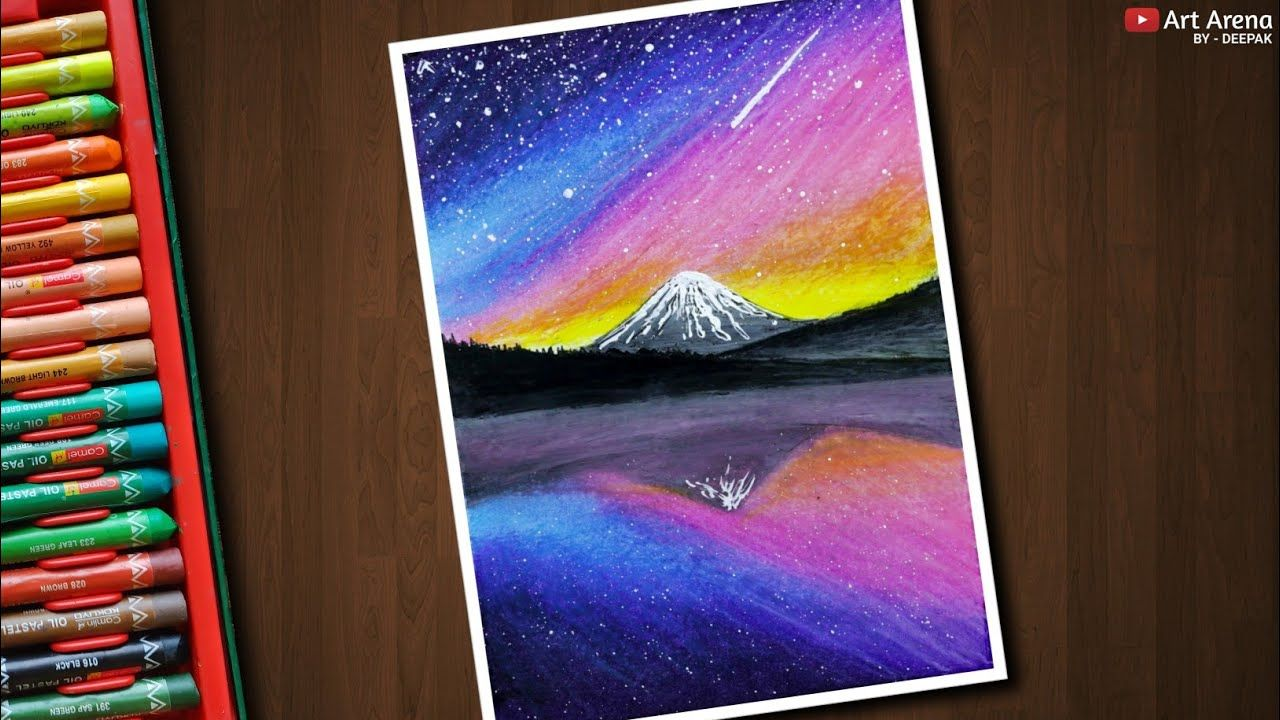 Galaxy Mountain Landscape Drawing For Beginners With Oil Pastels Step By Step Youtube Oil Pastel Drawings Easy Oil Pastel Art Oil Pastel Paintings