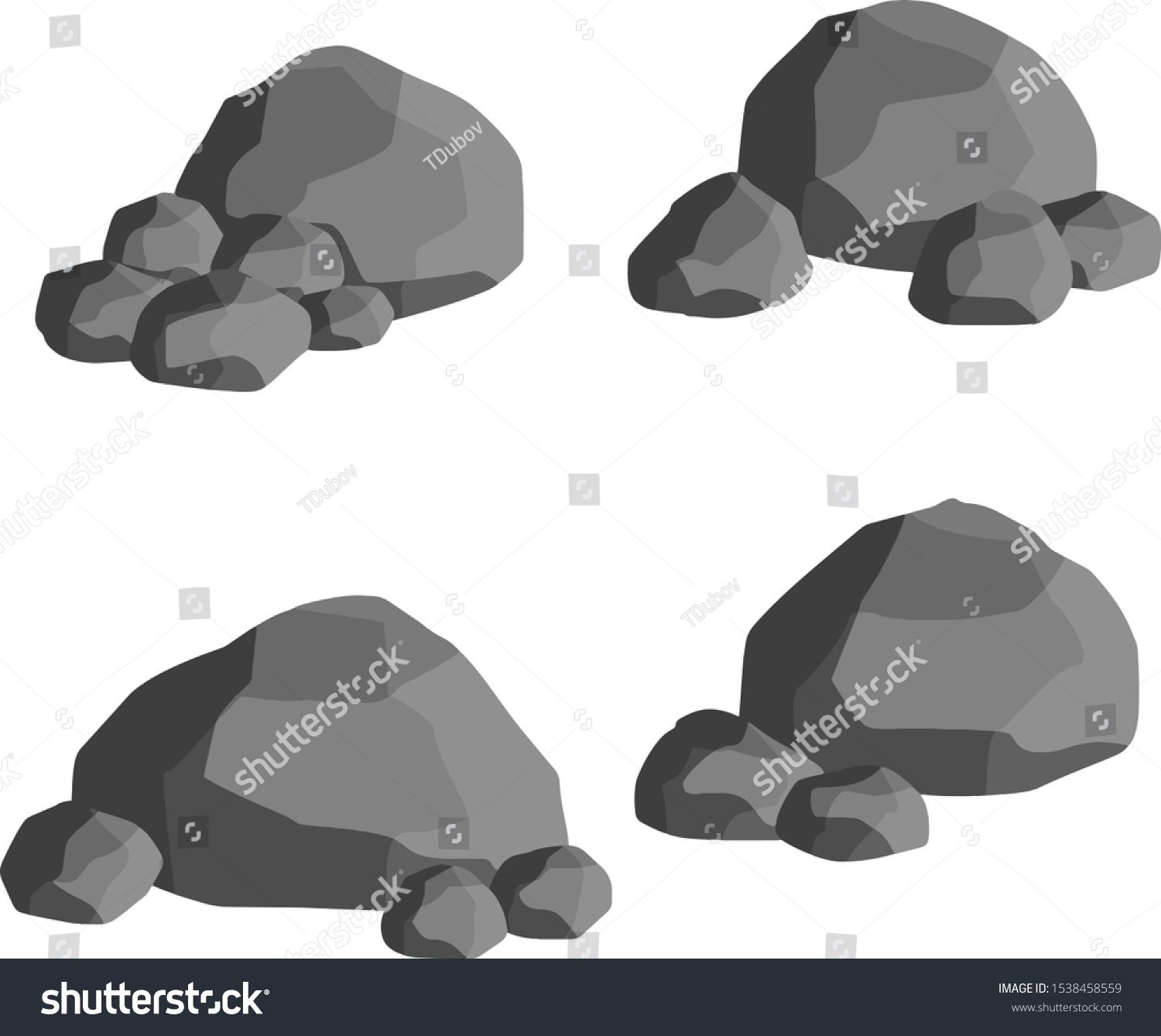 Set Of Gray Granite Stones Of Different Shapes Element Of Nature Mountains Rocks Caves Minerals Boulder And C Granite Stone Grey Granite Different Shapes
