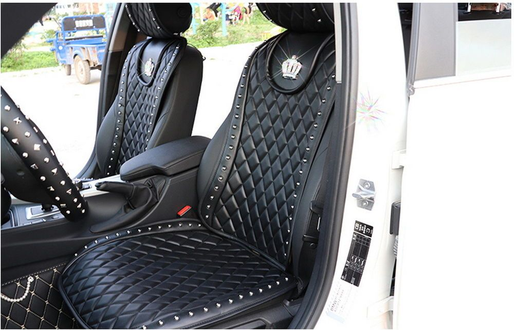 New 2 Pcs Fashion Crown Leather Car Front Seat Cover Black Accessories Styling