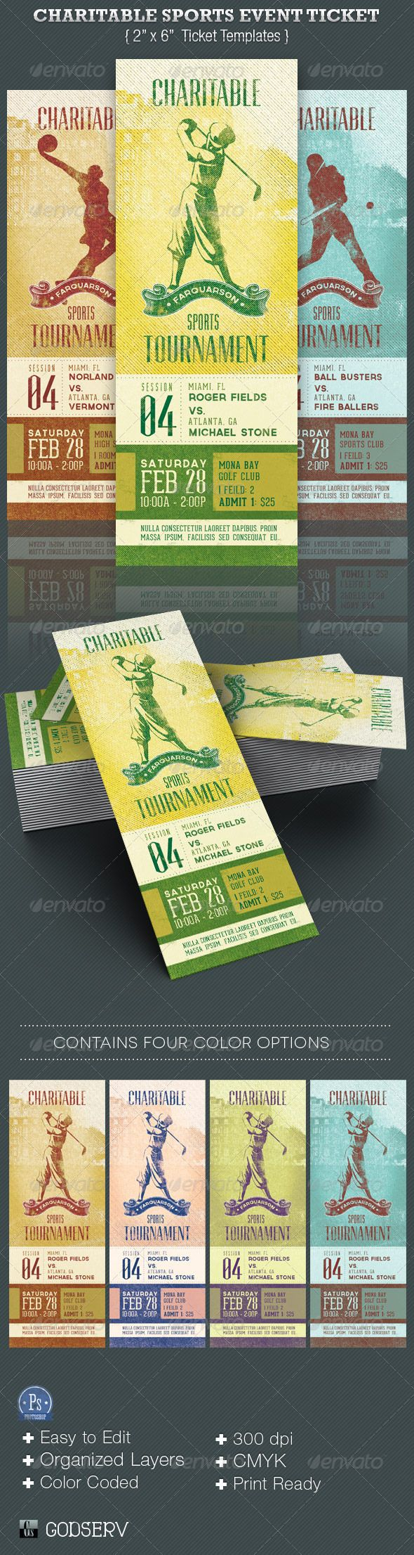 Charitable Sports Event Ticket Template | Ticket template, Event ...