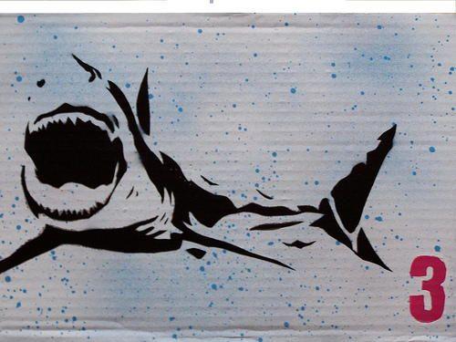 Shark SEA Animal AIRRUSH Painting Wall Stencil