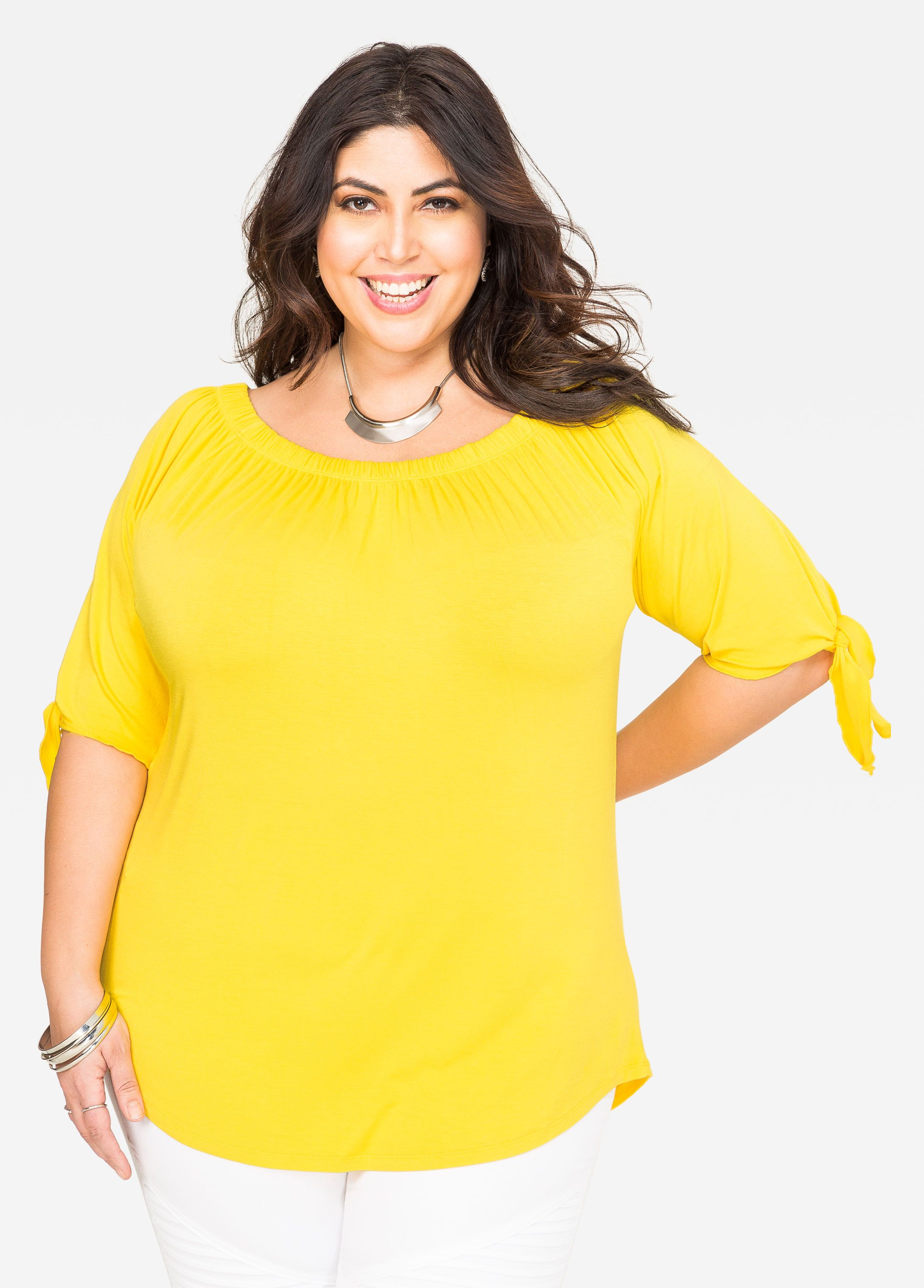 9e9d0b68becea6 Solid Tie Sleeve Marilyn Top in 2019 | Jessica Milagros | Plus size ...