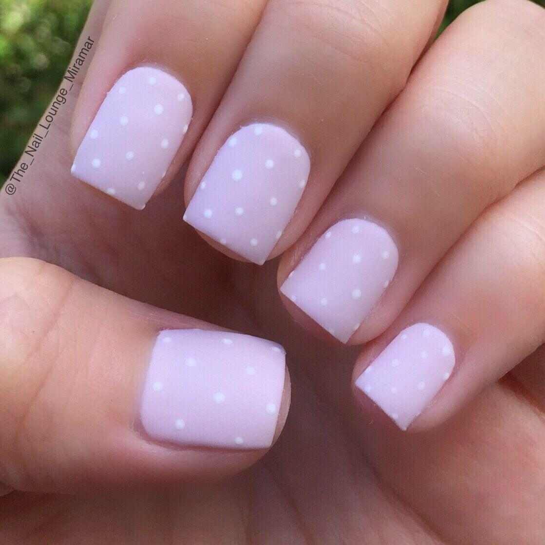 Simple girly pretty dots lavender nail art design | Nail Art ...