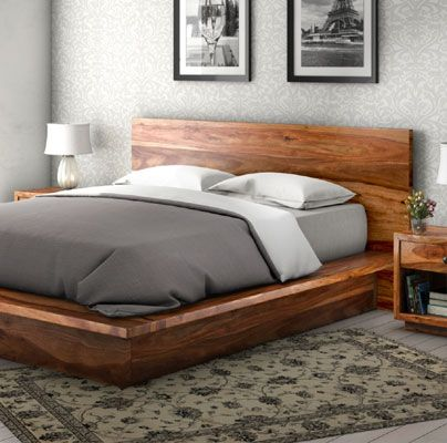 California Modern Solid Wood King Size Platform Bed Frame 3pc