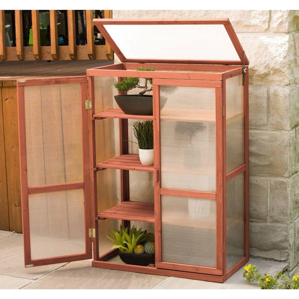 Wood Mini Greenhouse - Brown - Leisure Season