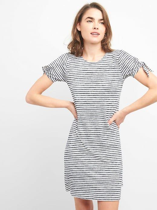 2b185fe97f0 Gap Womens Softspun Tie-Sleeve Swing Dress Navy Stripe