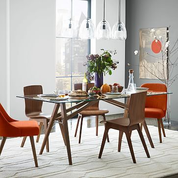 Jensen Table Bom GlassWalnut Apartments Apartment Ideas And - West elm jensen dining table