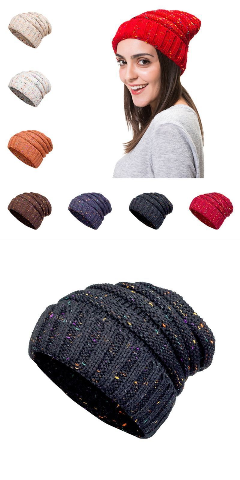c7ab37035a9a5 2018 confetti soft stretch cable knit beanie slouchy skull cap chunky warm  winter hat  berets  dot  casual  women  acrylic  adult