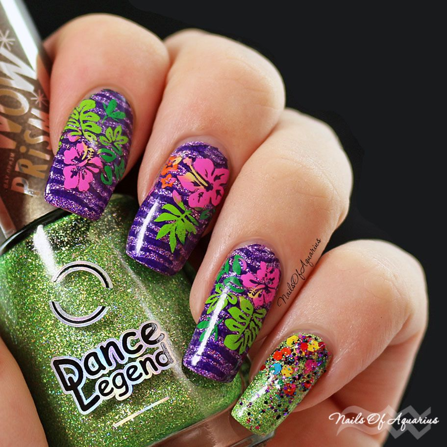 Jungle Love: Multicolor Stamped Tropical Flowers Nail Art + Video ...