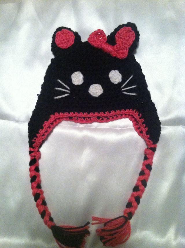 Pink and black hello kitty crochet hat girls by loopsbowtique ... afaa4fbc84d4