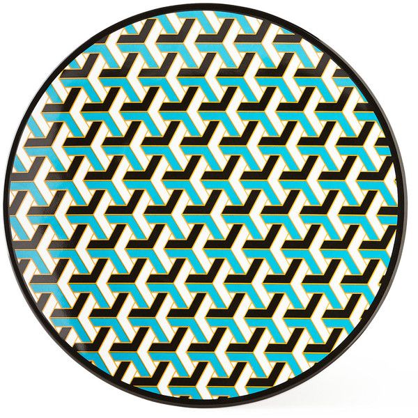 Jonathan Adler Blue Mykonos Melamine Dinner Plate ($12) ❤ liked on ...