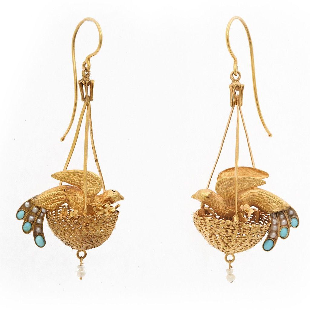 Victorian Bird Nest Earrings, circa 1870. From A La Vieille Russie