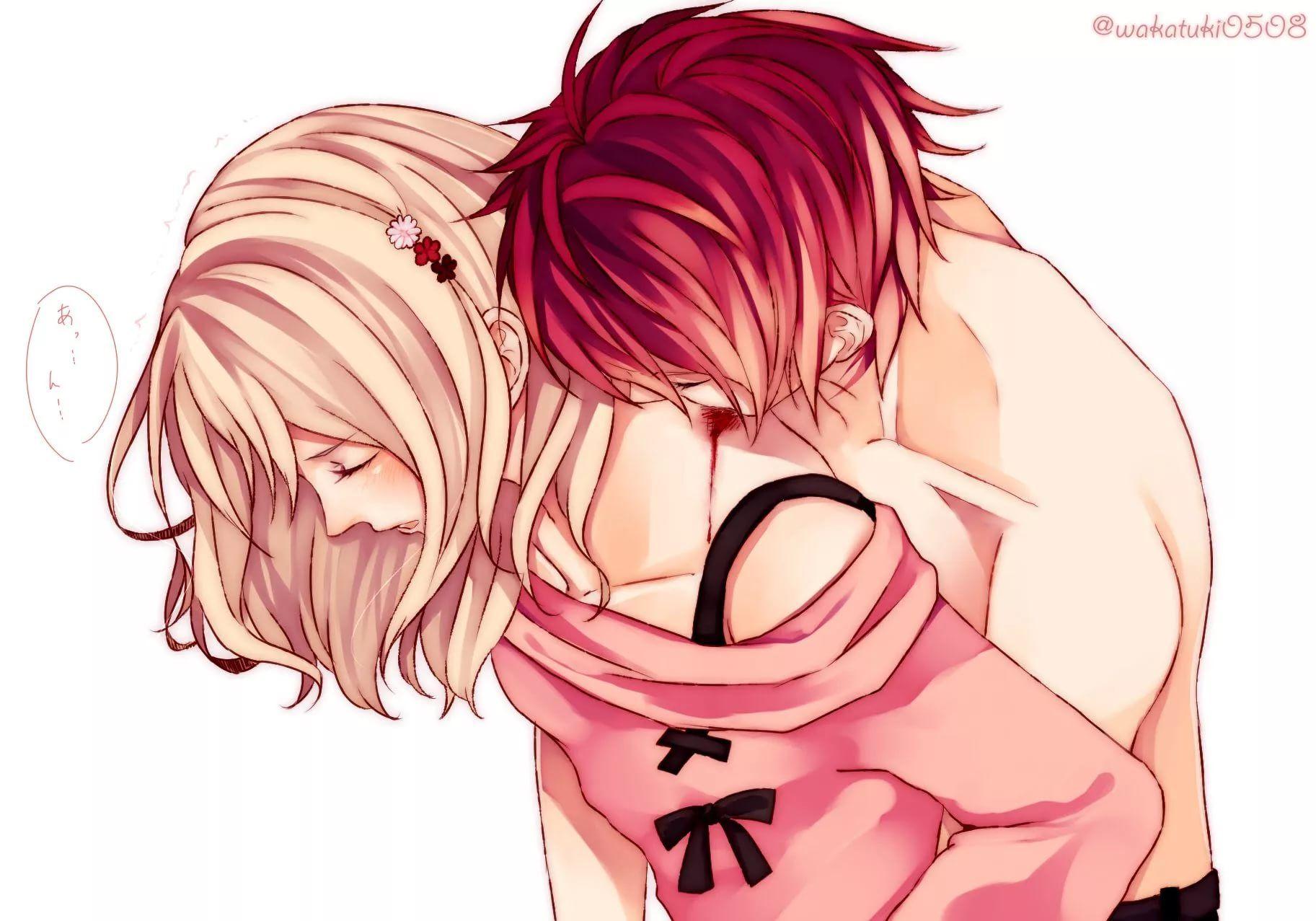 Аниме картинки поцелуев в шею