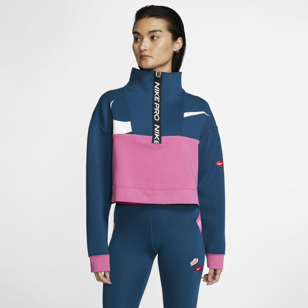 Nike Pro Get Fit Icon Clash Women's Fleece 1/2-Zip Jacket. Nike.com -  Nike Pro Get Fit Icon Clash W...