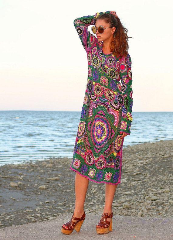 "SOLD Crochet dress ""Bohemia"" Hand knitting dress Hippie Bohemian style 1970s…"