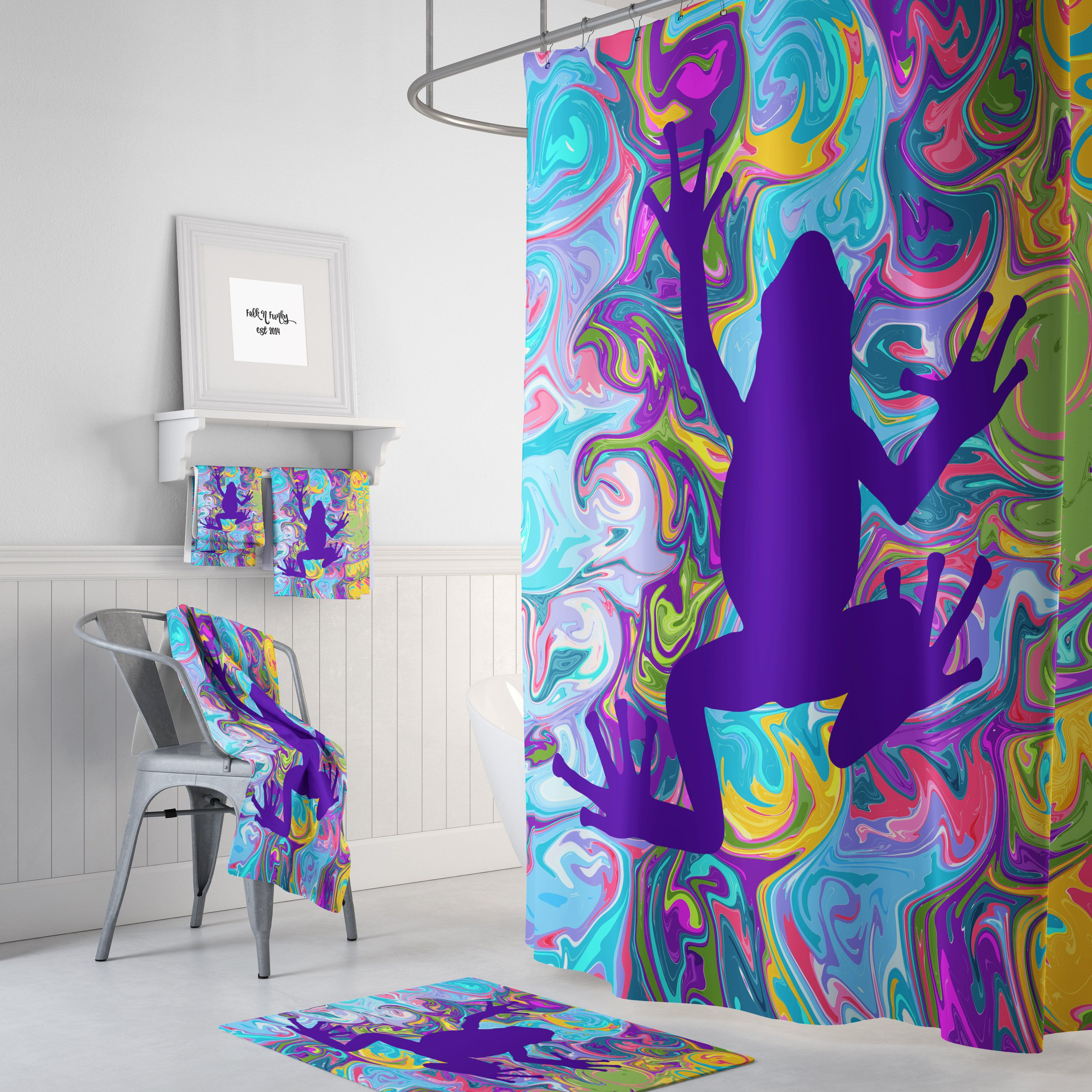 Groovy Frog Shower Curtain Bath Towels And Bath Mat Available