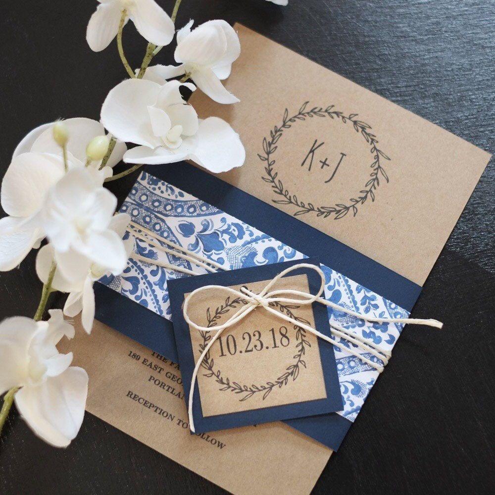 Rustic Wedding Invitation, Classic Wreath Wedding Invitation ...